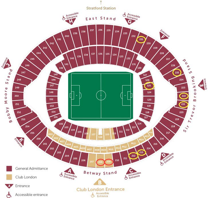 Mappa posti a sedere London Stadium