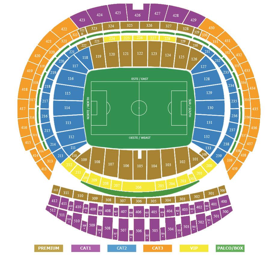 Plan stadionu/miejsc Wanda Metropolitano
