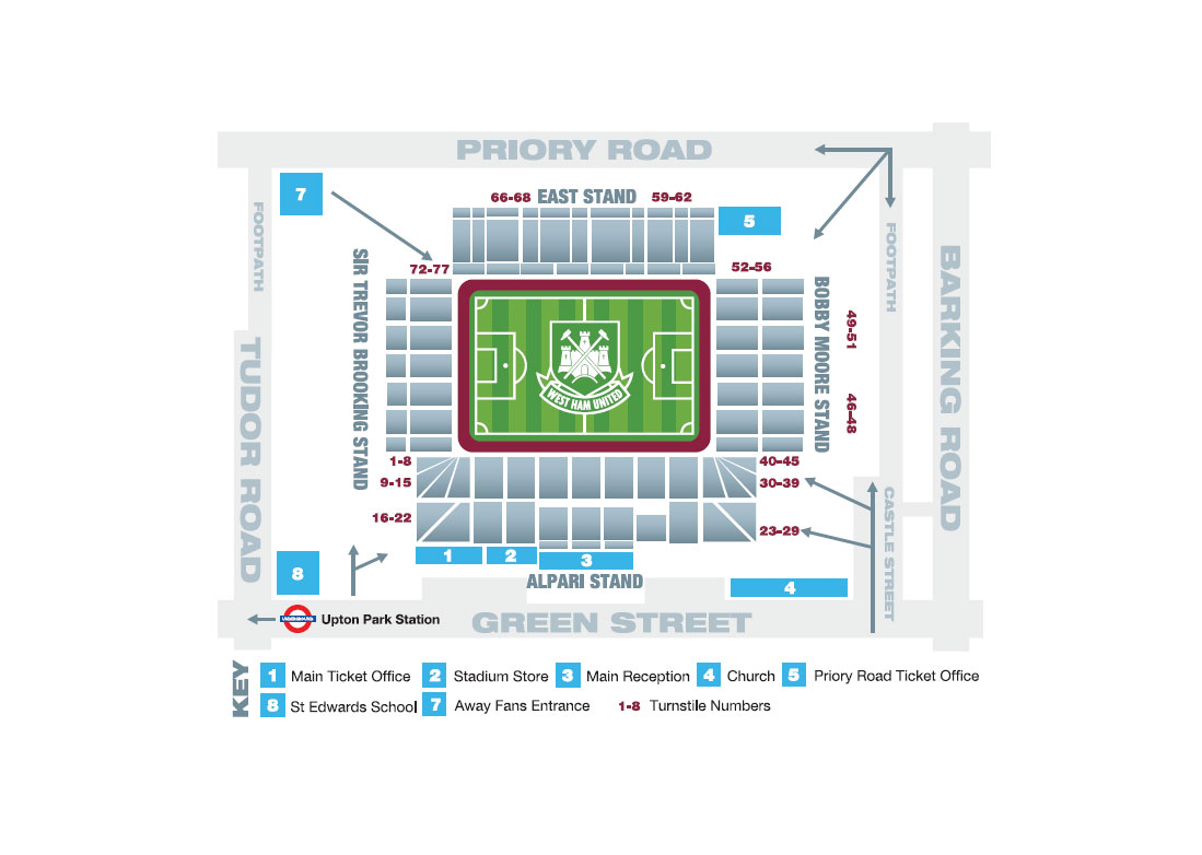 Plan stadionu/miejsc Boleyn Ground Upton Park