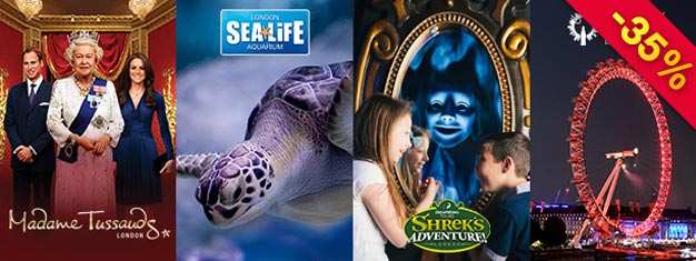 Save 35% on tickets to four top attractions! Visit Madame Tussauds, Coca Cola London Eye, SEA LIFE London Aquarium & Shrek's Adventure! London. Book online today!