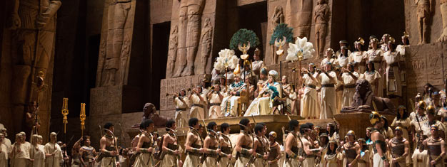 Aida showcases the splendors of ancient Egypt return to the stage of the Met. Verdi's mythic love triangle is a must-see, buy your tickets for Aida here.