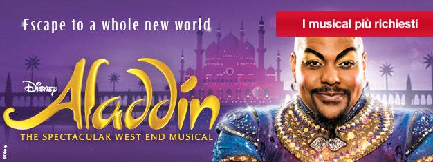 Prenota i tuoi biglietti per il nuovissimo musical Disney Aladdin, a Londra da giugno 2016. Divertimento e magia per tutta la famiglia!