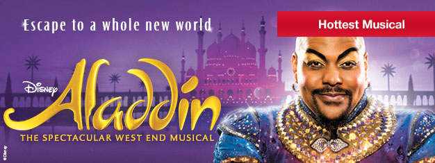 Prebook your tickets for Disney's newest musical hit Aladdin. It's a magical musical for the entire family! Book now!