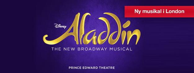 Köp biljetter till Disneys senaste succémusikal Aladdin i London och upplev en magisk föreställning för hela familjen! Boka familjemusikalen Aladdin hemifrån!