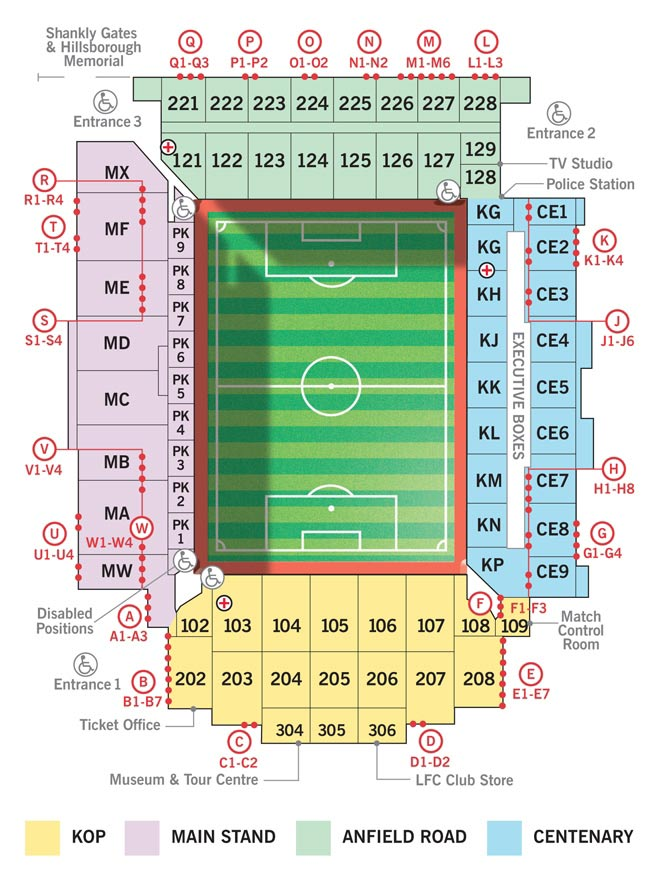 Seatingplan Anfield