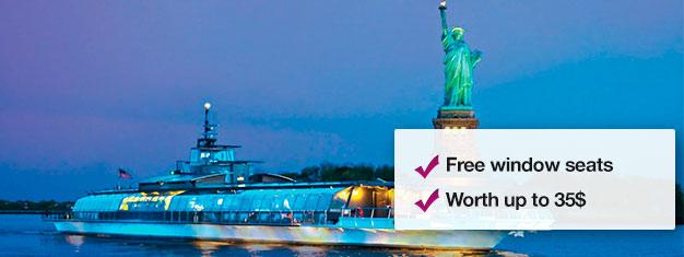 Spismiddag på cruise rundt Manhattan, beundre New Yorksfantastiskeskyline fra vannet og nyten nydelig 4-retters middag. Sikre deg en plass, bestill på nettet.
