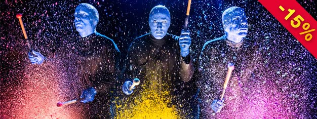 Experience The Blue Man Group in New York! It's a show that has to be seen! Make sure to secure tickets in advance and prepare to be amazed!