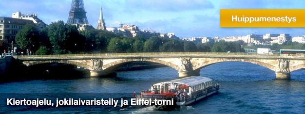 Osta liput etukäteen tälle Pariisin kiertoajelulle, joka toteutetaan bussilla ja laivalla ja jonka aikana pääset ihailemaan Pariisia myös korkeuksista. Pääset jonottamatta Eiffel-torniin! Hyvää vastinetta rahoillesi!