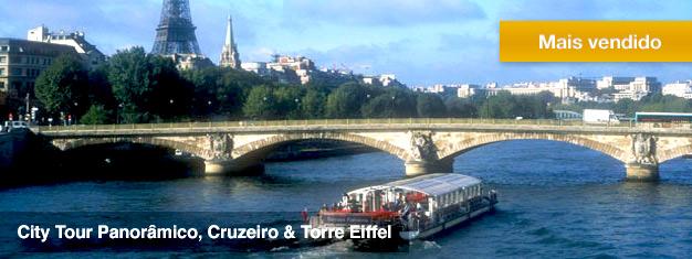 Reserve com antecedência o city tour completo por Paris,em ônibus de luxo, cruzeiro e do alto da Torre Eiffel - com entrada prioritária e audioguia em português. Reserve online aqui!
