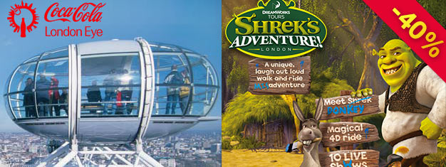 Spar 40 % på billetter til London Eye og Shrek's Adventure i London. Bestill vår supersparer London Combo Bronsepakke her, flott verdi for dine penger!