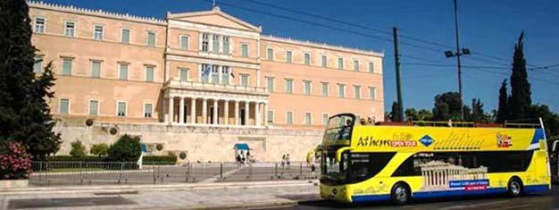 Explora Atenas con los buses Hop-On Hop-Off! Tu billete es válido durante 24 horas + 1 día gratis. Reserva ya!