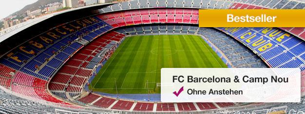 Besuchen Sie Camp Nou - das Zuhause des FC Barcelonas mit Museum! Buchen Sie jetztund umgehen Sie die Schlage vor dem Ticketschalter! Tickets hier buchen!