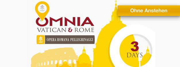 Mit einem Vatikan und Rom Pass erhalten Sie freien Zugang zum Vatikan, Tickets für zwei Top-Attraktionen, Freifahrt im öffentlichen Verkehr in Rom und vieles mehr.