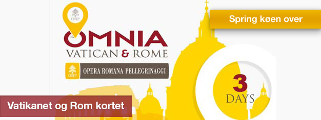 Med Vatikanet og Rom kortet får du gratis adgang til Vatikanstaten, billetter til to attraktioner, gratis transport i Rom og meget mere. Køb dit her!