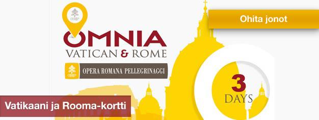 Vatikaani- ja Rooma -passilla saa ilmaisen pääsyn Vatikaaniin, liput kahteen huippukohteeseen, ilmaisen julkisen liikenteen Roomassa ja paljon muuta.