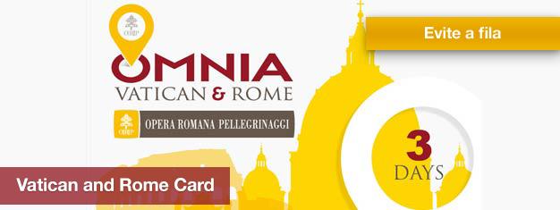 O Passe Roma & Vaticano dá acesso às atrações mais importantes da Cidade do Vaticano e Roma e acesso ilimitado aos autocarros de City Tour e ao transporte publico por 3 dias. Reserve online aqui!