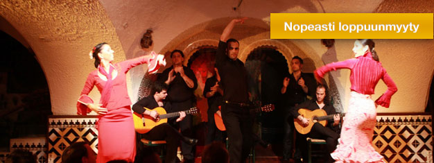 Näe suosittu flamenco-show Tablao de Carmenissa Barcelonassa! Nauti illasta täynnä musiikkia, tanssia ja laulua! Osta liput netistä!