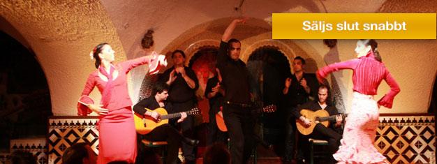 Upplev den populära flamenco föreställningen på Tablao de Carmen i Barcelona! Njut av en kväll fylld med musik, flamenco dans och sång! Biljetter online!