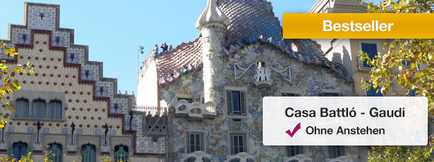 Umgehen Sie die Schlange vor derCasa Batlló mit Tickets aus dem Vorverkauf! Besuchen Sie Antoni Gaudis berühmteCasa Batlló! Buchen Sie Tickets online!