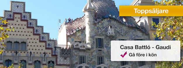 Gå före i köerna till Casa Batlló med förbokade biljetter! Besök en av Antoni Gaudis mest kända byggnader i Barcelona - Casa Batlló! Boka biljetter på nätet!