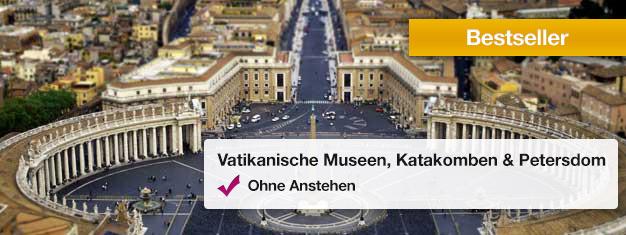 Besuchen Sie die Vatikanischen Museen, die Vatikanischen Grotten und den Petersdom bei dieser beliebten Führung! Buchen Sie Ihre Tickets von Zuhause aus und ersparen Sie sich alle Warteschlangen!
