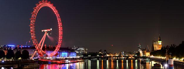 Bilety do London Eye, ogromnego diabelskiego młyna na brzegiem Tamizy, z którego można podziwiać wspaniałą panoramę Londynu. Zamówiony bilet przesyłamy w tym samym dniu na adres e-mail klienta.
