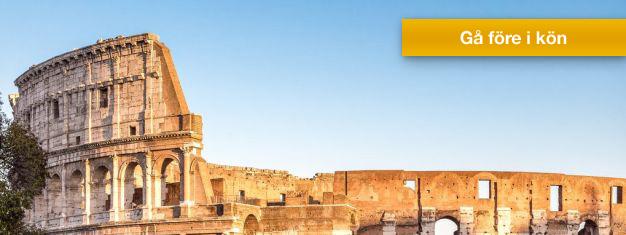 Boka endast entrebiljett till Colosseum i Rom här och få e-biljetten skickad till din inkorg. Utforska Colosseum, Forum Romanum och Palatinen i din egen takt.
