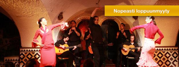 Osta lippusi kauniiseen flamenco-esitykseen Tablao Cordobesiin Barcelonassa. Tablao Cordobes on yksi kuuluisimmista flamenco-paikoista Espanjassa.