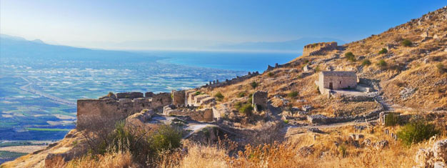 Besök antika Korinth, Archaia Korinthos, utanför Aten! Utforska ruinerna av Agora, den gamla marknadsplatsen och Apollontemplet. Boka din utflykt nu!