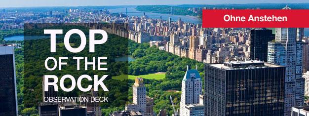 Umgehen Sie die Warteschlange beim Top of the Rock Observation Deck im Rockefeller Center! Genießen Sie die fantastische Aussicht auf New York. Ein Pflichttermin! Online buchen!