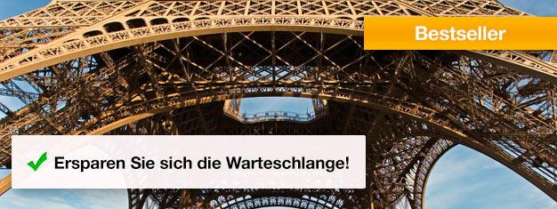 Umgehen Sie die Schlange am Eiffelturm! Kaufen Sie sich Ihre Skip the Line Tickets für den Eiffelturm bereits Zuhause und ersparen Sie sich unnötiges Warten. Buchen!