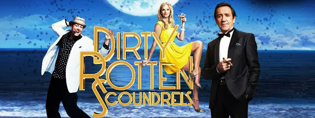 Dirty Rotten Scoundrels the Musical in London is based on the movie of same name from 1988 with Steve Martin and Michael Caine. Book tickets for Dirty Rotten Scoundrels in London here!