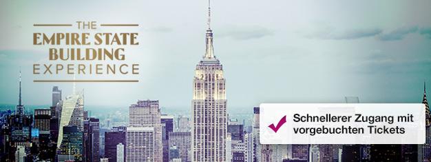 Umgehen Sie die Schlange im Empire State Building mit Tickets aus dem Vorverkauf! Genießen Sie die Aussicht auf New York! Kaufen Sie Ihre Tickets für das Empire State Building hier!
