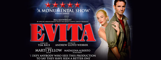 The musical Evita about the charismatic Evita Peron is now playing for 55 performances in London's West End. Buy tickets here!