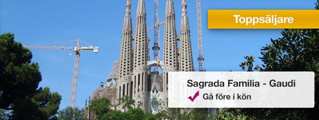 Upptäck Sagrada Familia på en 2-timmars guidad rundtur! Se Gaudis ofärdiga mästerverk i Barcelona! Gå före i köerna med din guide. Biljetter online!