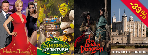 Sparen Sie 1/3 des Ticketpreises bei Madame Tussauds, London Dungeon, Shrek's Adventure & Tower of London mit dem Supersparer London Combo Gold Package! Online buchen!