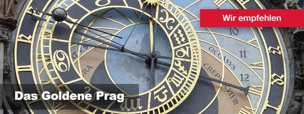 Buchen Sie hier Ihre Tickets für eine Tour durch das Goldene Prag und entdecken Sie all die atemberaubenden Sehenswürdigkeiten, die Prag zu bieten hat - zu Fuß, mit dem Bus und auf dem Wasserwege!