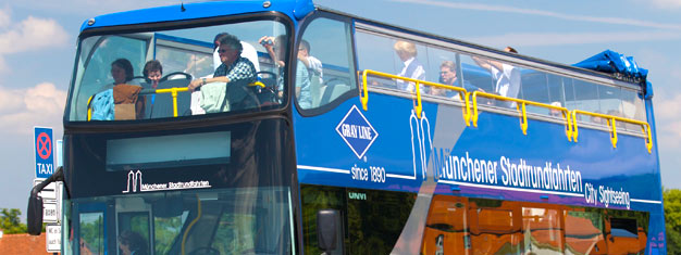 Oppdag München med en av våre hopp på-hopp av sightseeing busser. Velg mellom våre to timer og opplev byen i ditt eget tempo. Skaff billettene dine her!