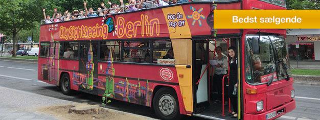 Opdag Berlin i dit eget tempo med Hop-af Hop-på busserne! Vælg ml. 3 ruter og to kombo-muligheder! Børn under 6 år rejser gratis. Bestil billetter nu!