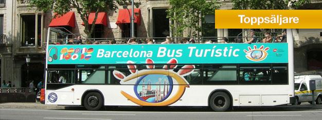Boka dina Barcelona Hop-on Hop-off bussbiljetter hemifrån och gör dig redo att utforska Barcelona. Välj mellan 24 eller 48-timmars biljetter!
