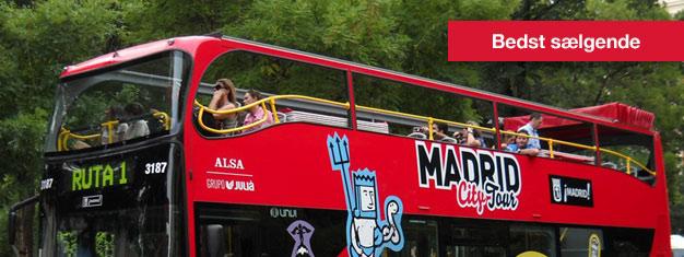 Hop-af Hop-på sightseeing i Madrid er en god måde at se Madrid på i dit eget tempo. Hop-af Hop-på sightseeing i Madrid kan købes her!