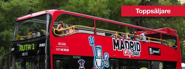 Hop on Hop off Madrid City Tour sightseeing är ett utmärkt sätt att se och utforska Madrid på, i ditt eget tempo! Biljetter till Madrid Hop on Hop off här!