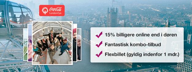 Spar 15% med dette kombo-tilbud hvor du får billetter London Eye og et London Eye River Cruise! Bestil i dag og spar 15% på dine billetter!