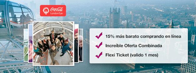 Ahorra 15% con esta combinación dónde consigues entradas para el London y el crucero London Eye River Cruise! Reserva hoy y ahorra un 15% en tus entradas!