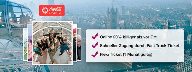 Warum Zeit in der Schlange vergeuden? Buchen Sie Fast Track Tickets für das Riesenrad London Eye online und sparen Sie 20% auf Ihre Eintrittskarten!