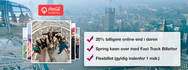 Hvorfor spilde tiden med at stå i kø? Bestil dine Fast Track-billetter til det populære pariserhjul London Eye online og spar 20% på dine billetter!