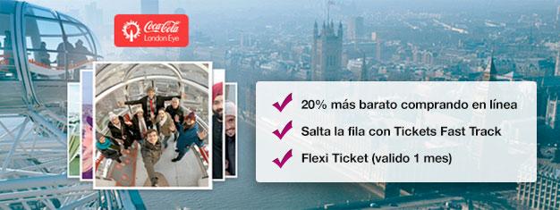 Por qué perder tiempo haciendo filas? Reserva tus entradas Fast Track a la popular noria London Eye en línea y ahorra un 20% en el precio!