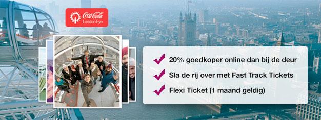 Verspil geen tijd in de wachtrij en boek uw Skip the line tickets voor de populaire attractie London Eye online en bespaar 20% op uw tickets! Boek nu!