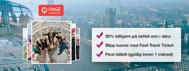 Besøk London Eye - med Fast Track-billetter hjemmefra sparer du tid i kø og nesten 20% av prisen sammenlignet med å kjøpe ved inngangen. Kjøp online nå!
