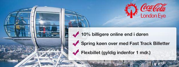 Besøg London Eye! Køb spring-køen-over billetter hjemmefra og spar tid i køen og spar næsten en tredjedel af prisen sammenlignet med i indgangen. Køb online!